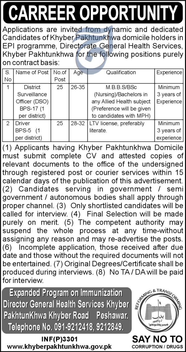 Directorate General Health Services KPK Peshawar Jobs  July 2017ad1