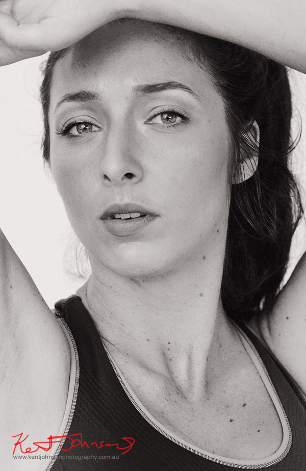 Fitess shoot in the studio, black and white headshot. By Kent Johnson Sydney, Australia.