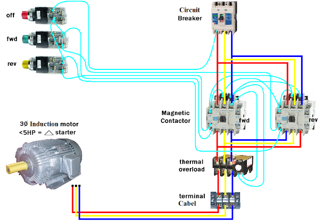 Magnetic Contactor Connection Diagram for Motor to Forward and Reverse Direction