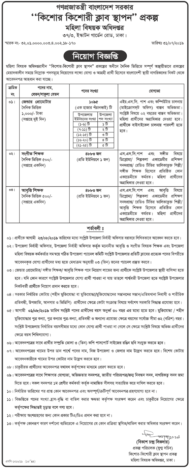 Ministry of Women Affairs New Job Circular 2019