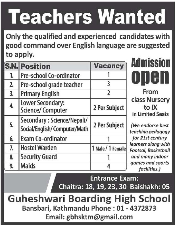Teacher Vacancy on Guheshwari Boarding High School