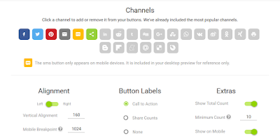Share This Site Social Button customization Screenshot