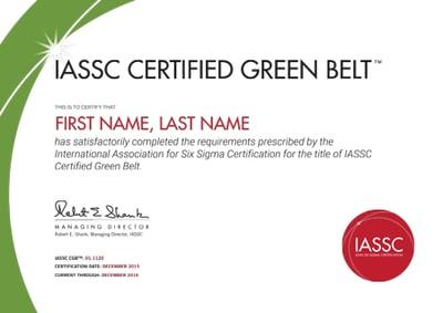 Certificado Seis Sigma Green Belt IASSC