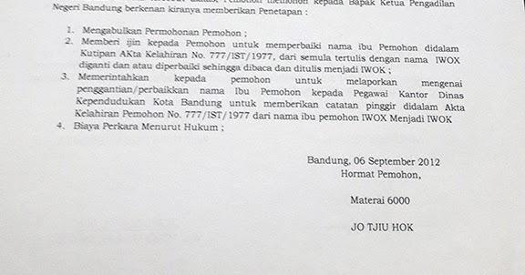Contoh Surat Permohonan Perubahan Namaperbaikan Akta Lahir