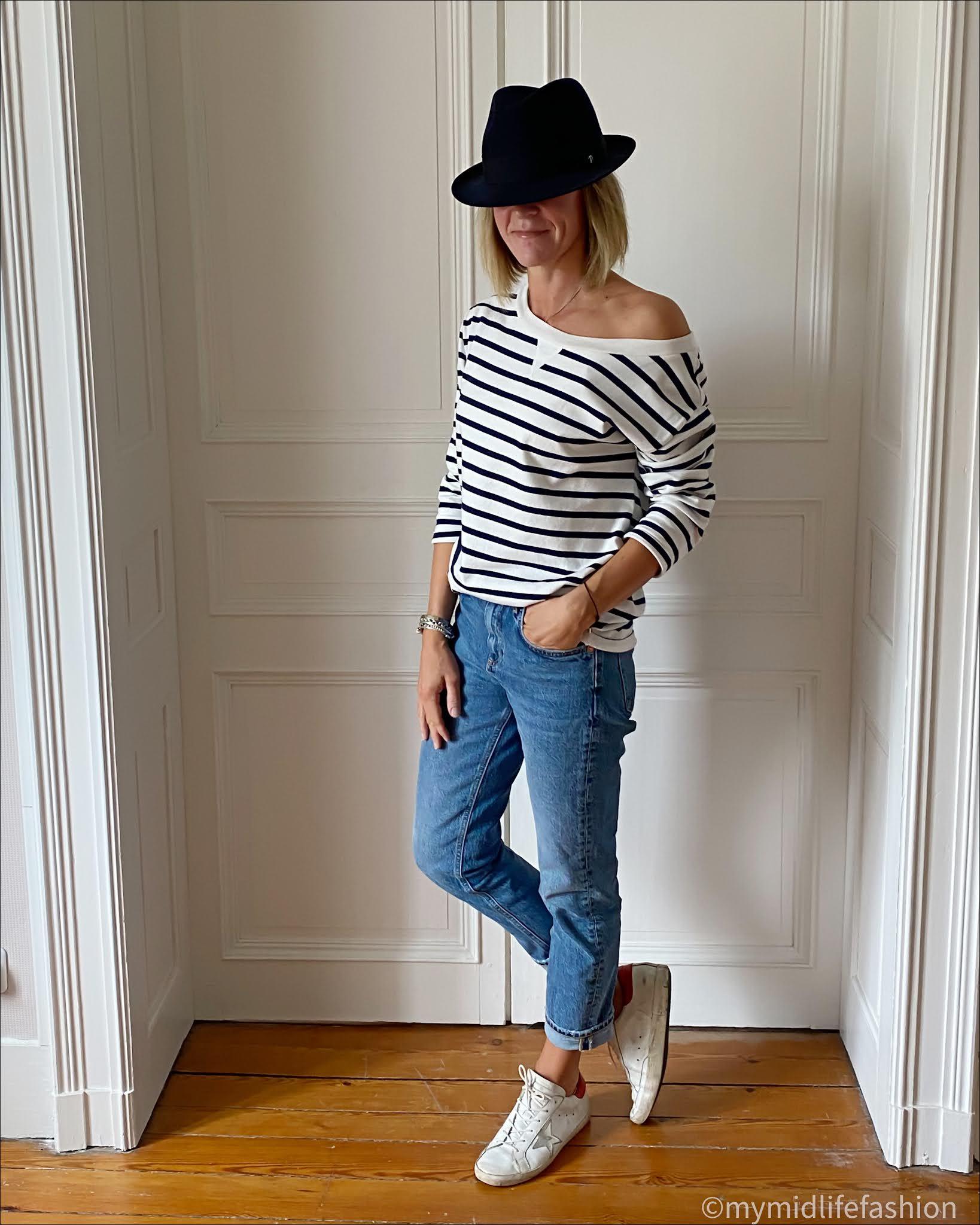 my midlife fashion, felt trilby, baukjen Layla organic top, zara straight leg jeans, golden goose superstar low top trainers