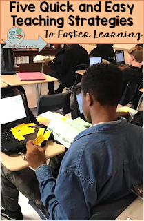 "We teach it, but do our students learn it? Probably not without our assistance. ""Go forth and study"" means very little to students. Click through to see five quick and easy strategies I use to foster learning in my classroom."