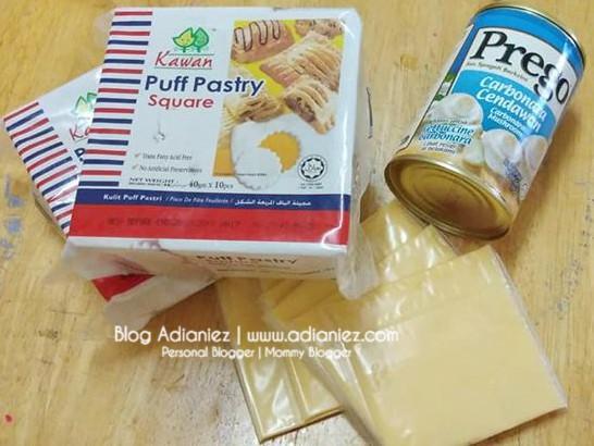 Resepi Minum Petang | Chicken Carbonara Cheese Puff