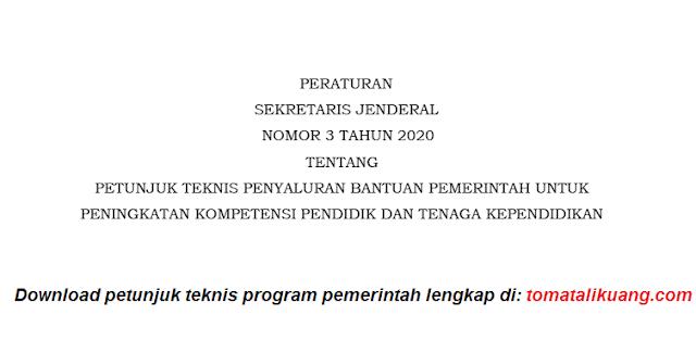 Download Petunjuk Teknis Program Organisasi Penggerak 2020 PDF (Persekjen Kemendikbud Nomor 3 Tahun 2020) tomatalikuang.com