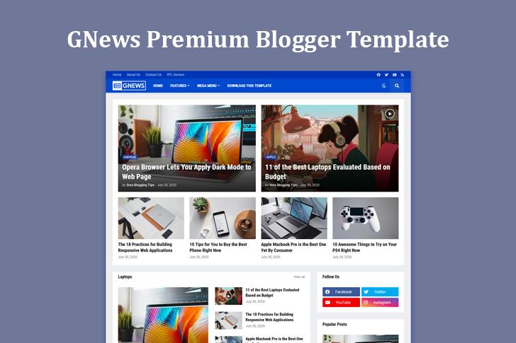 Free Download GNews Premium Blogger Template
