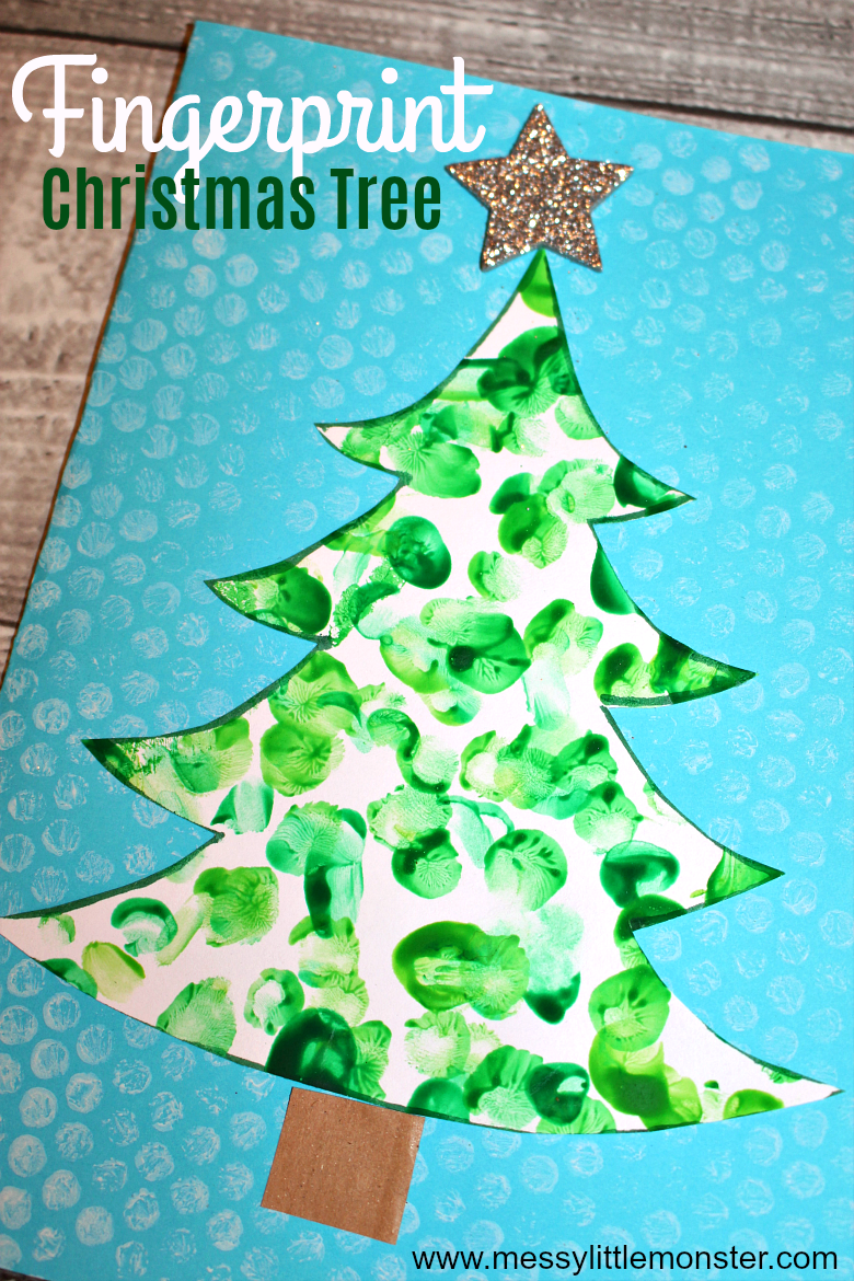 Use our Christmas tree template to make this adorable fingerprint Christmas tree card. Fingerprint Christmas cards are perfect homemade cards for toddlers and preschoolers to make.