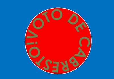 A imagem de fundo azul e vermelho está escrito: voto de cabresto.