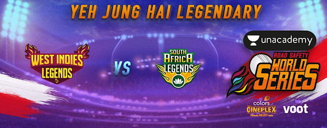 West Indies Legends Vs South Africa Legends RSWS 2020 Match no 4