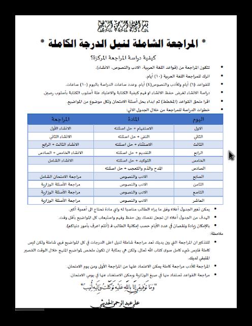كيفية مراجعة قواعد اللغة العربية الادب والنصوص والانشاء لنيل الدرجة الكاملة