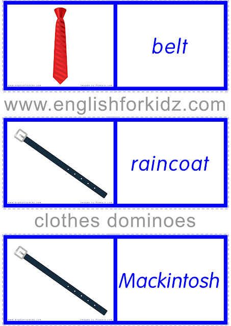 Clothes and accessories game - printable dominoes