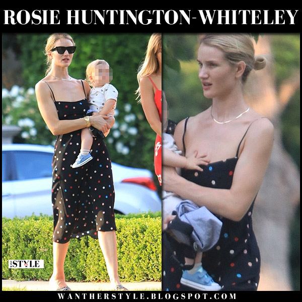 Rosie Huntington-Whiteley in black polka dot dress and black slides model summer style august 11
