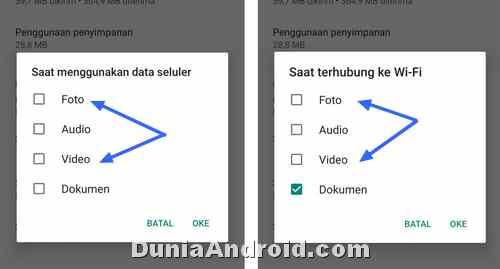 Pengaturan unduhan Otomatis Video Foto WA