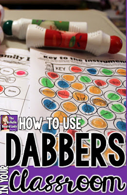 How to Use Dabbers in Your Classroom - They keep students engaged (and smiling!) and are perfect for quick assessments. Read about how to use them with no fuss and no mess. Ideas for workstations or centers are also included. Let's get dabbing!