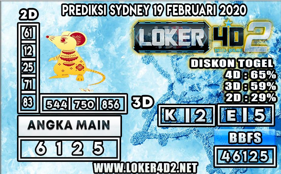 PREDIKSI TOGEL SYDNEY LOKER4D2 19 FEBRUARI 2020