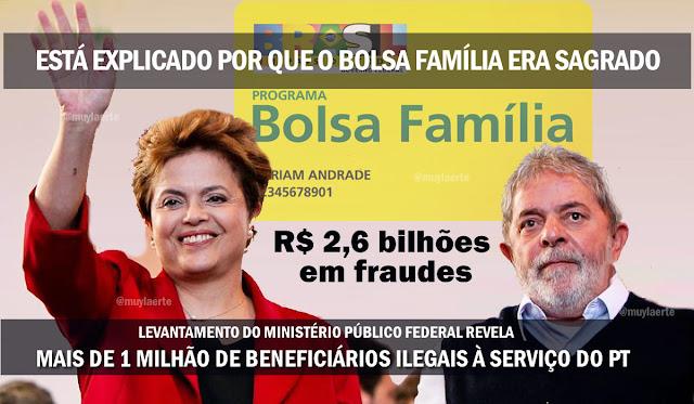 Resultado de imagem para Lula e Dilma defendiam o Bolsa Família com unhas e dentes não por causa dos pobres, mas sim para garantir mais de um milhão de militantes e cabos eleitorais pagos com dinheiro do contribuinte.