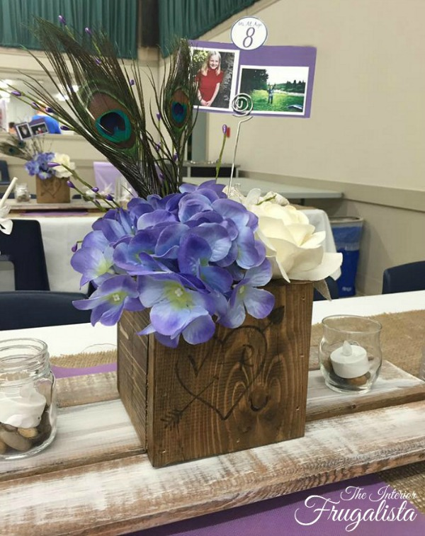 DIY Rustic Wedding Centerpiece Boxes with whitewashed trivets