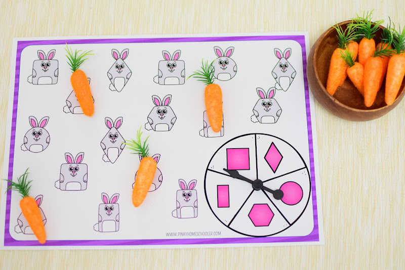 Easter Theme Unit: Easter Bunny Shape Spin and Cover