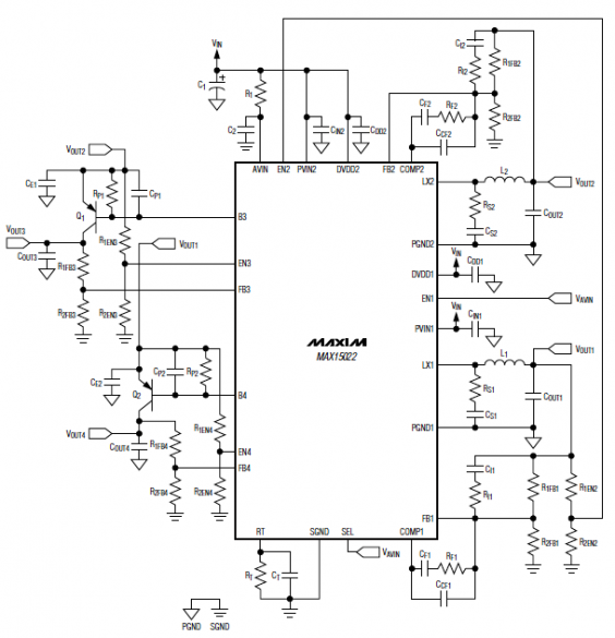 MAX15022 Double Buck Circuit Diagram and Datasheet
