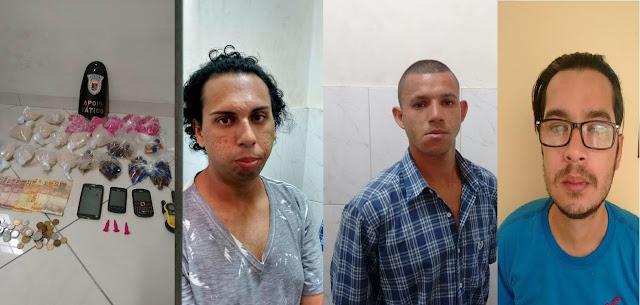 Três elementos foram detidos pelo Tático da Guarda Municipal de Jundiaí por tráfico de drogas em um conjunto habitacional na Vila Esperança