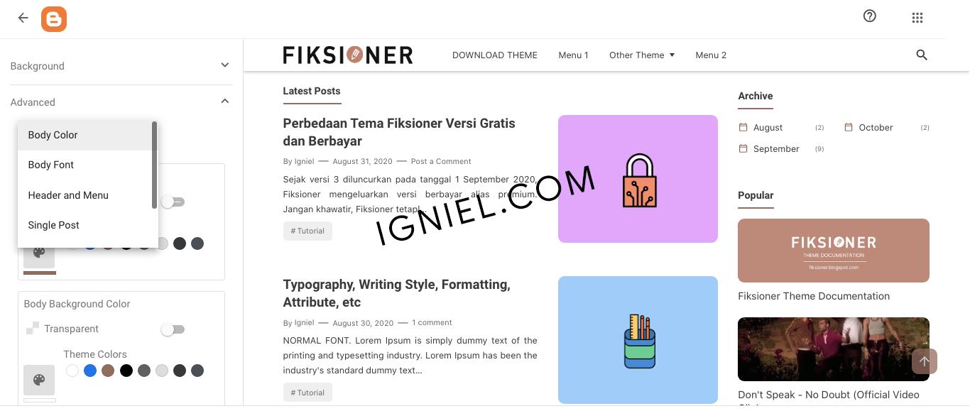Ganti Font dan Warna Fiksioner