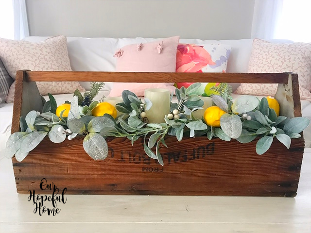 vintage wooden tool box Buffalo Bolt. Co. faux eucalyptus leaves garland juniper lemons