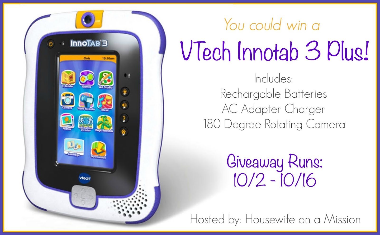 Enter Another VTech Innotab 3 Plus Giveaway. Ends 10/16