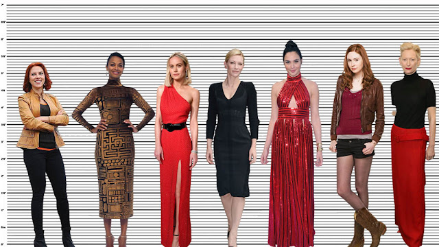 "Cate Blanchett height comparison with Scarlett Johansson (5'3""), Zoe Saldana (5'7""), Brie Larson (5'7""), Gal Gadot (5'9.5""), Karen Gillan (5'10"") and Tilda Swinton (5'10.5"")"