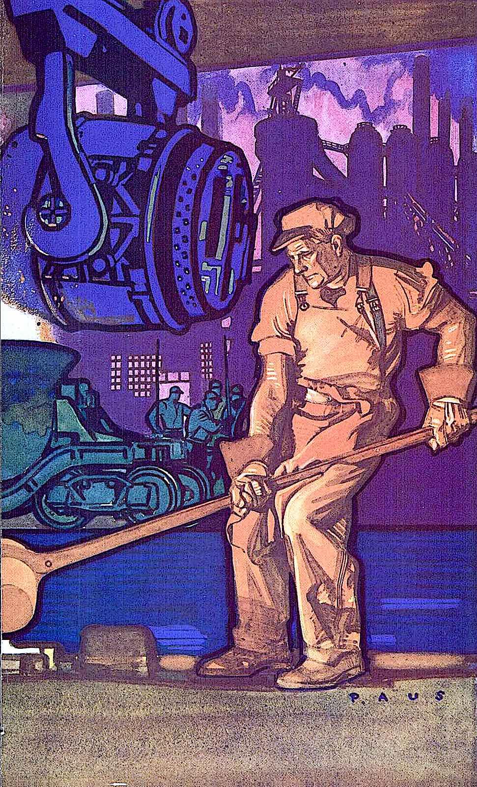 a Herbert Paus 1930 illustration of men in a steel foundry