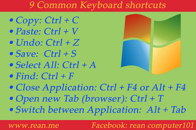 9 keyboard shortcut on windows