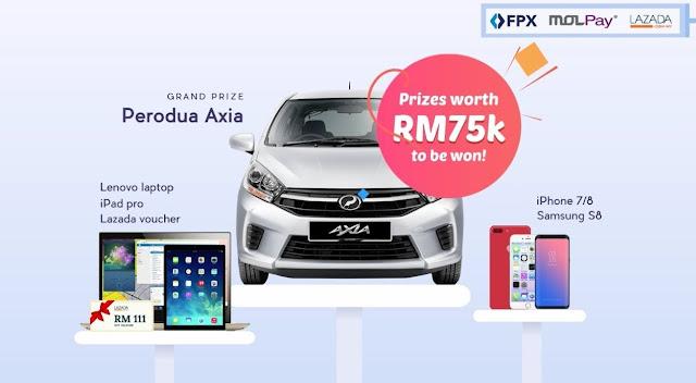 lazada, shopping di lazada, bayar menggunakan online banking, kempen lazada x molpay fpx & win, molpay fpx, online banking, fpx & win