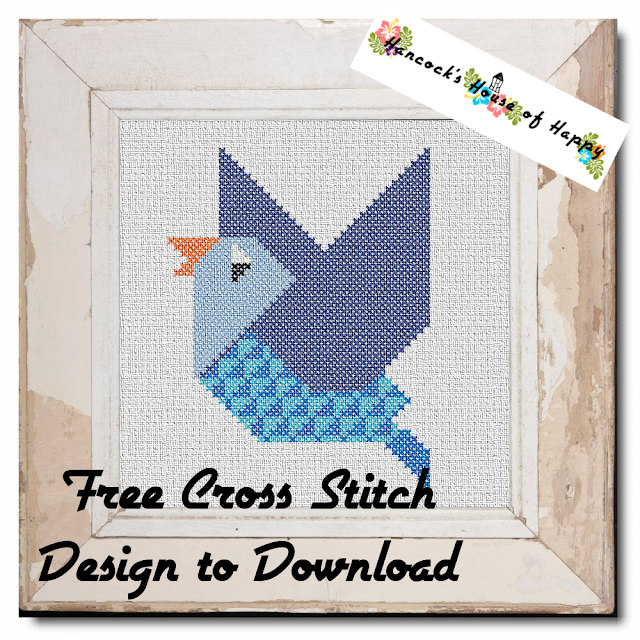 Free Beginner #CrossStitch Design to Download: Geometric Budgie Bird. Free Cross Stitch Pattern to Download. Free #download from Hancock's House of Happy. cross stitch,free cross stitch design, cross stitch patterns to download, cross stitching, cross stitch resources, free cross stitch, how to cross stitch, what to cross stitch, punto cruz, punto de cruz, ponto cruz, クロスステッチ,ścieg krzyżowy, beginner cross stitch design, cross stitch patterns for beginners, cross stitch chart for kids