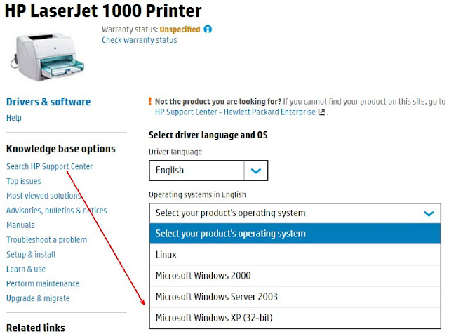 Chọn phiên bản download driver Hp laserjet 1000 printer