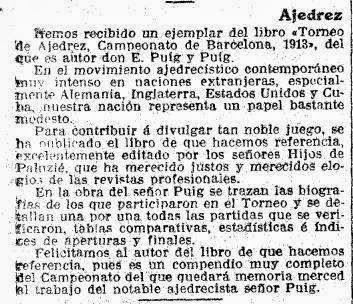 Recorte de noticia en La Vanguardia sobre el Campeonato de Ajedrez de Barcelona 1913