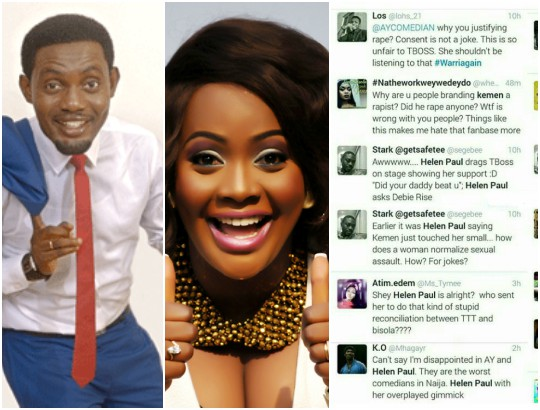 Nigerians blast Helen Paul and AY for making lame jokes about what Kemen did to TBoss