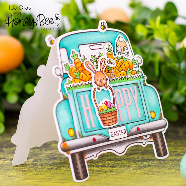 Hoppy Easter,Big Pick Up Truck Card,Honey Bee Stamps, Card Making, Stamping, Die Cutting, handmade card, ilovedoingallthingscrafty, Stamps, how to,Easter Card, Truck Shaped card, Loads of Spring, Big Pick Up Tailgate Stamps