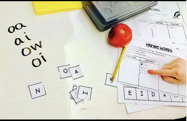 Word Sorts to find long and short vowel words: use phonics and spelling patterns to decode and write words based on a longer, scrambled thematic Mystery Word. Reading, writing, phonics, review, introduction, practice or remediation