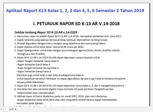 Aplikasi Raport K13 Kelas 1, 2, 3 dan 4, 5, 6 Semester 2 Tahun 2019