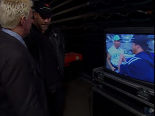 WCW Sin 2001 Review - Bill Goldberg and Ric Flair watch a monitor
