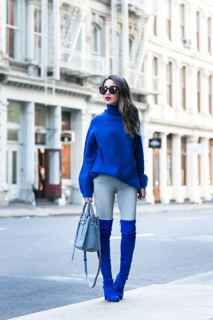 Wendys Lookbook Blue Knit Sweater Blue Suede Knee High Boots