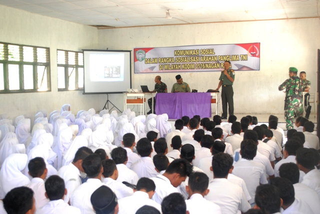 Kodim 0116 Nagan Raya Sosialisasi Arahan Panglima TNI di Lingkungan Sekolah