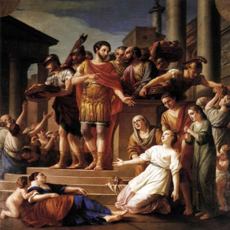 Marcus Aurelius distributing bread