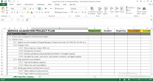 WBS Project Plan Template in Excel