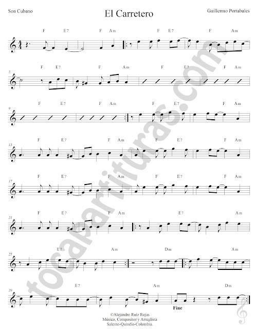 El Carretero de Guillermo Portabales Partitura Fácil con Acordes El Carretero Easy Sheet Music with Chords