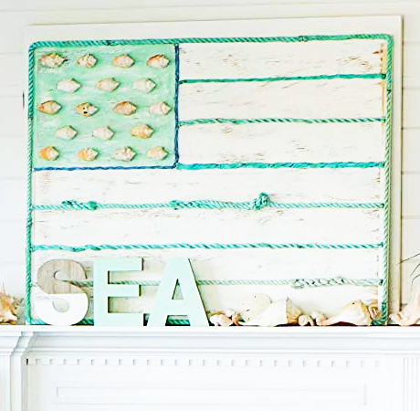 Wooden American Flag with Shells and Rope