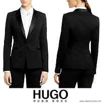 Queen Letiza Style HUGO BOSS Blazer and BOSS Relaxed Trousers and MANGO Clutch Bag