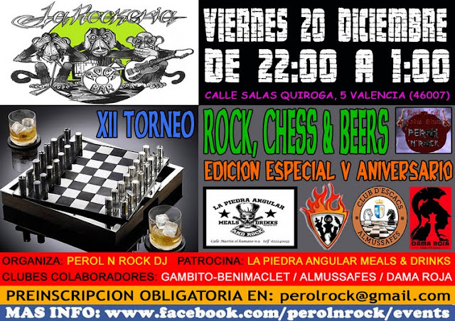 20 diciembre, XII Torneo Rock, Chess & Beers
